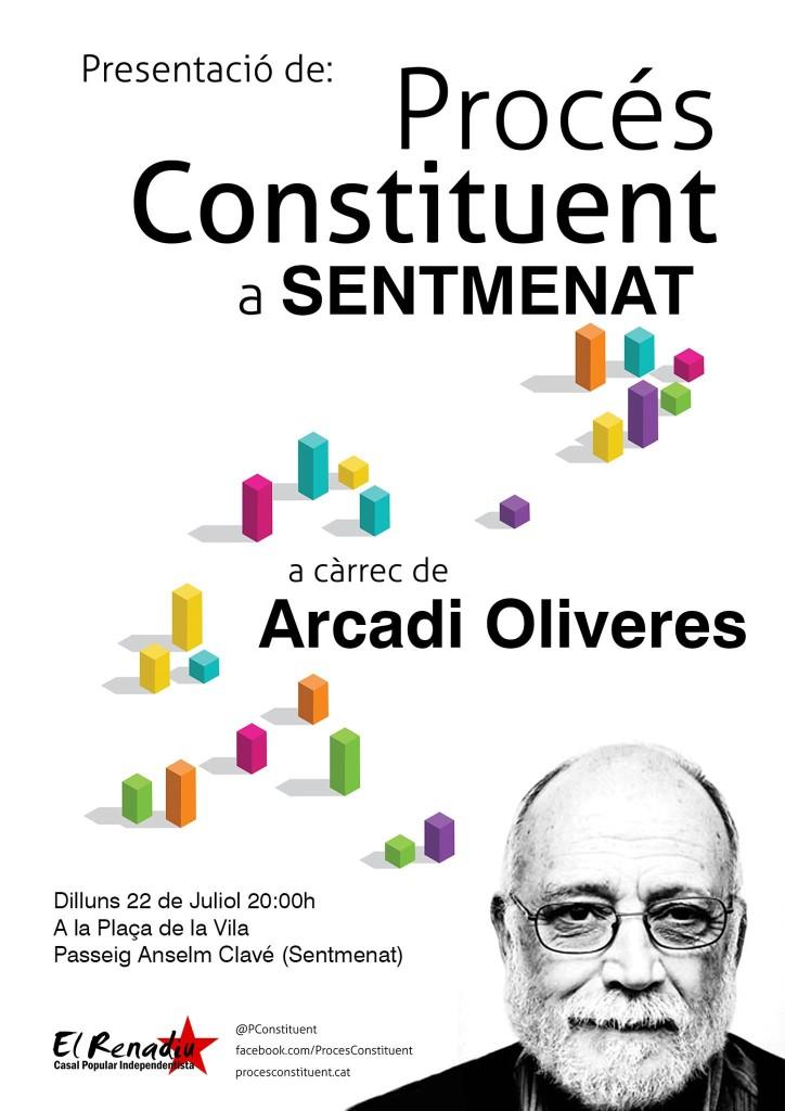 Cartell de presentació del Procés Constituent a Sentmenat a càrrec d'Arcadi Oliveres